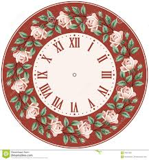 vintage clock face with roses stock vector image 58922355