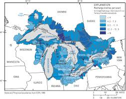 canadian map with great lakes estimation of shallow ground water recharge in the great lakes basin