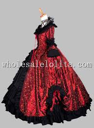Halloween Costume Ball Gown Gothic Black Wine Red Print Victorian Themed Dress Vampire