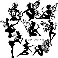 fairy set c die cut silhouette x 18 assorted fairies fairy jars
