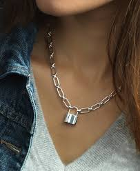 sterling silver necklace clasp images Padlock necklace in sterling silver sterling silver necklaces jpg