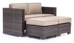 dining room loveseat corinthia brown woven nesting loveseats glass top dining table and