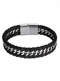 bracelet braid images Cool faux leather braid bracelet black bracelets zaful jpg