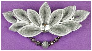 how to make kanzashi wedding hair clip i diy kanzashi flower i