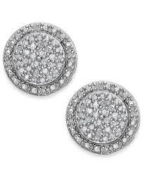 silver diamond earrings diamond pavé stud earrings in sterling silver 1 5 ct t w