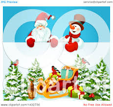 clipart of santa claus and a snowman over a sign christmas sleigh