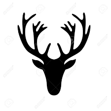 illustration of a deer head silhouette isolated on white royalty