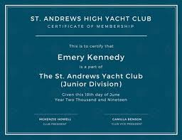 high yacht club membership certificate templates by