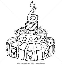 ink drawing birthday candle on top stock illustration 358725458