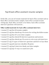 Resume Examples For Office Assistant by Top 8 Back Office Assistant Resume Samples 1 638 Jpg Cb U003d1430986394
