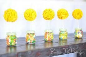 felt flower topped baby food jar topiaries baby shower