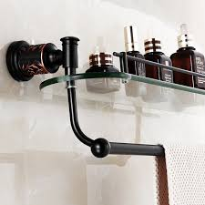 Bronze Bathroom Shelves Auswind Antique Black Rubbed Bronze Bathroom Shelf With Glass