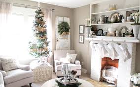 christmas living room decorating ideas wood frame fireplace white