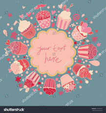 tasty card made cupcakes pink colors stock vector 136192265