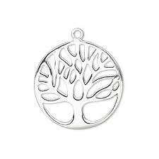 drop sterling silver 25mm sided flat with cutout tree