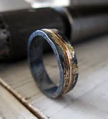 unique wedding ring mens wedding band mens wedding ring oxidized ring black gold