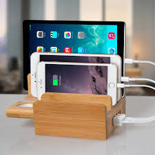 amazon com fleck cs007 5 port usb desktop charging station bamboo