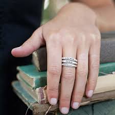 stackable rings with children s names stacking name rings by leonard designs