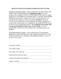 recommendation letter for student from teacher forms and templates