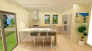 bar pour cuisine ouverte cuisine brillante cachemire et bois clair plan bar à vayres