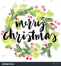 christmas cards in watercolor christmas card watercolor painting lettering stock vector