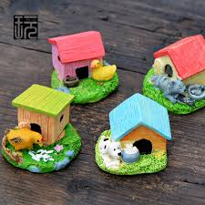 Duck Home Decor 2 Pcs Cat Children Duck House Kawaii Doghouse Figurine Terrarium