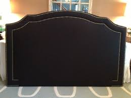 Custom Made Fabric Headboards by Handmade Notched Upholstered Headboard Navy Linen Antiue Brass