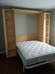 bedroom simple murphy bed kit design with white bed mattresss