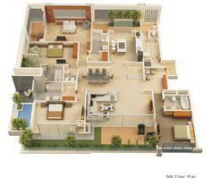 25 More 3 Bedroom 3d Floor Plans 3d Bedrooms And 3d Interior Design