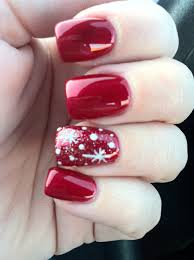 snowflake design on red nails nail art i would do blue instead