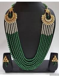 green pearls necklace images Green beads and pearls necklace kundan chandbali sides jpeg