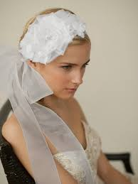bridal headband wedding hair flower bridal headband with wide sheer ribbon delphine