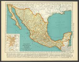 Old Mexico Map by Vintage Map Mexico From 1937 Original