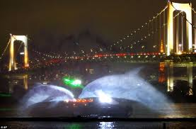Bay Bridge Light Show Water Wonder Light Show By Bridge Sees Dolphins Elephants And A