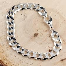 solid sterling silver mens bracelet images Solid sterling silver men 39 s 11 3mm width curb bracelet jpg