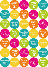 happy post stickers bright summer colours