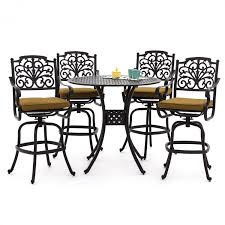 Patio Furniture Bar Set - evangeline 5 piece cast aluminum patio bar set by lakeview outdoor