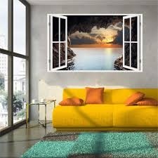 home decorating gifts new product 3d windows decal wall sticker home decor sunset cave art