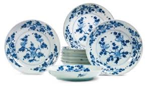 ten blue and white three abundances dishes 18th century