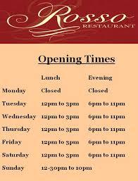 rosso restaurant woodford green opening times