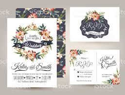 wedding invitation card suite with daisy flower templates stock