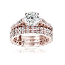 overstock wedding ring sets diamond trio matching wedding ring set white gold sets affordable