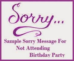 wedding wishes regrets sorry messages not attending birthday party
