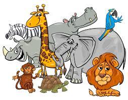 safari cartoon cartoon safari animal characters group vector premium download