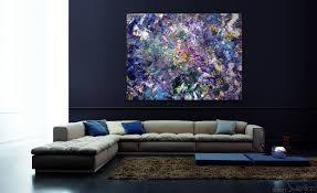 modern apartment art modern canvas painting in purple white and blue acrylics wall art