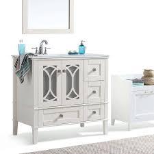 Simpli Home Paige 36 Inch Bath Vanity With White Quartz Marble Top