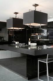 203 best interior design images on pinterest architecture home glamorous black modern kitchen square pendant lights over gloss black island unit layer