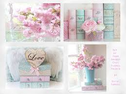 shabby chic decor flower photographs pink aqua floral