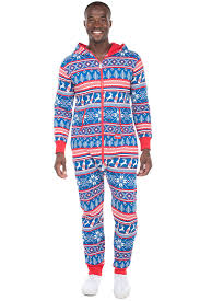 blue jumpsuit mens s navy fair isle jumpsuit tipsy elves