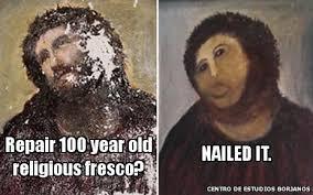 Fresco Jesus Meme - repair 100 year old religious fresco potato jesus know your meme